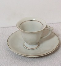 Beautiful Little China Demitasse Cup White with Gold Trim-Vintage - $6.99