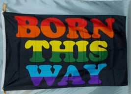 Born This  Way 3X5' Flag NEW Rainbow Polyester Colorful Pride Flag - $9.85