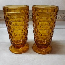 """Whitehall by Colony Amber Stacked Cube Design Iced Tea Footed Glass 6"""" Set of 2 - $25.00"""