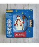 "4 Debbie Mumm Snowman Salad Dessert Plates Set 8"" Christmas Blue Target ... - $17.30"