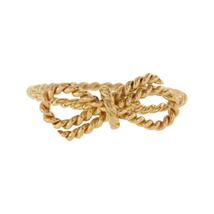 Authentic Tiffany & Co 18K Yellow Gold Bow Twist Wire Ring Size 8.5 »U16 - $395.25