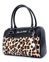 Lux De Ville Mini Atomic Tote Black Black Leopard dice baubles Purse Retro - $79.99