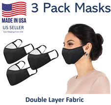 3 x Daily Cloth Washable Face Cover - Made in USA - Black - $27.00