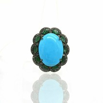 Pave Diamond Turquoise Ring Silver Emerald Gemstone Victorian Designer J... - $232.85