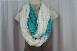 Cejon Scarf Sz OS One Size Seafoam Blue White Sheer Infinity Loop Casual... - $14.27