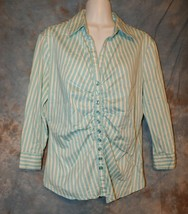 Womens Blue White Striped New York & Company 3/4 Sleeve Shirt Size Large... - $7.91