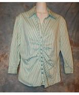 Womens Blue White Striped New York & Company 3/4 Sleeve Shirt Size Large... - $7.91