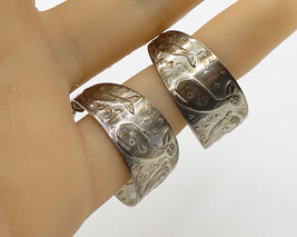 ROOSEVELT & BERNICE & 925 Silver Cute Navajo Whale Pattern Hoop Earrings... - $32.63