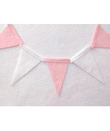 Solid 6 X 10 Pink and White Blank Felt Banner Bunting Garland - 10 FT - $12.00