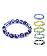 EVIL EYE BRACELET 10mm Glass Lampwork Bead Stretch Good Luck Kabbalah Pr... - $6.95