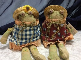 Russ Happy Days Frogs Pair, Country, Burlap, Straw Hats, Buttons, rare - $17.81