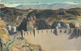 Linen Postcard NV AH C121 Lookout Point Nevada Side Hoover Boulder Dam c... - $9.00