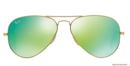 Ray Ban 3025 112/68 Gold Frame Mirrored Green Lenses Aviator Sunglasses 58mm - $79.99