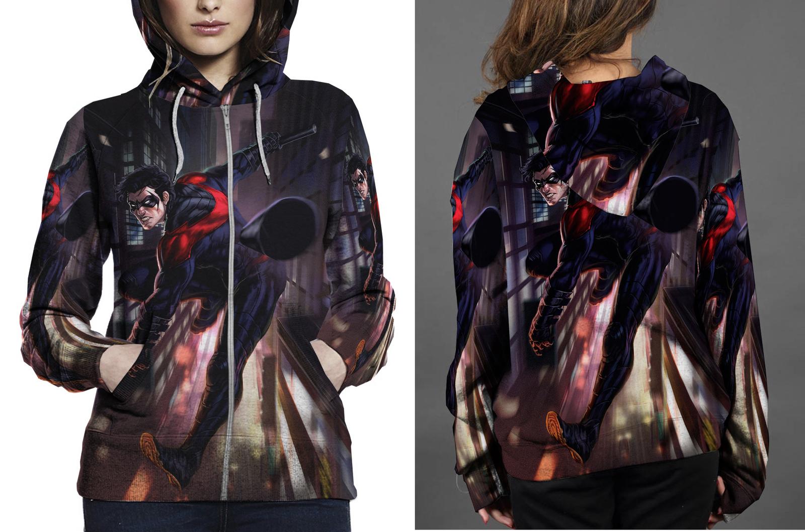 Nightwing action zipper hoodie women s