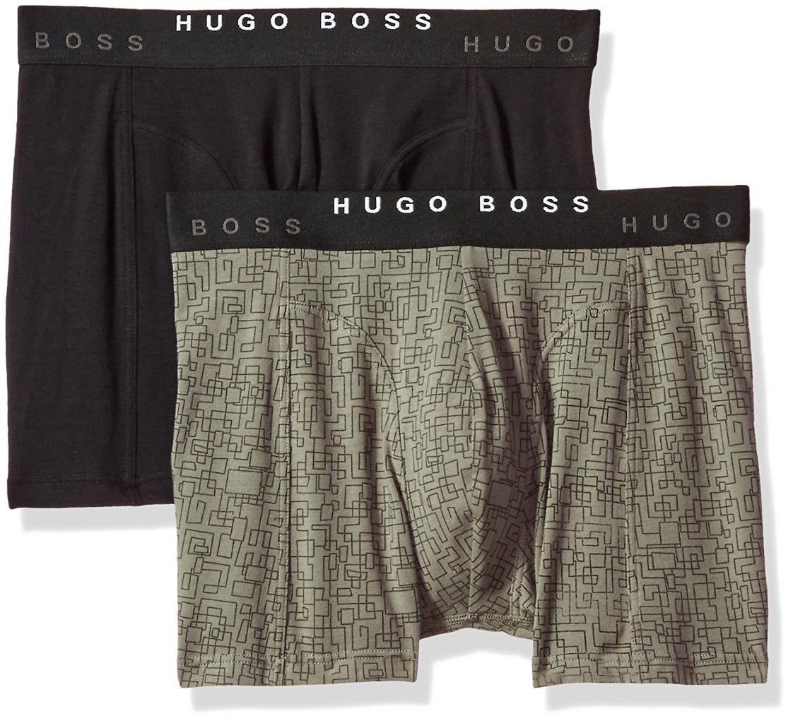 Hugo Boss Men's Premium Dynamic Cotton Stretch Boxer Brief 2 Pack Black 50325787