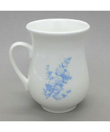 Pot Belly Ceramic Coffee Mug Tea Cup White Blue Flowers Floral Rose Vintage - $8.99