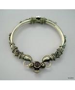 Traditional design sterling silver bangle bracelet cuff amethyst gemstone - $266.31