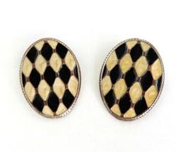 Harlequin Pierced Stud Earrings, Vintage Black & Cream Enamel Earrings - $13.00