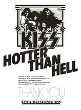 """KISS Rock Hotter Than Hell """"18 x 25"""" Inch """"THANK YOU"""" Reproduction Poster - $38.00"""