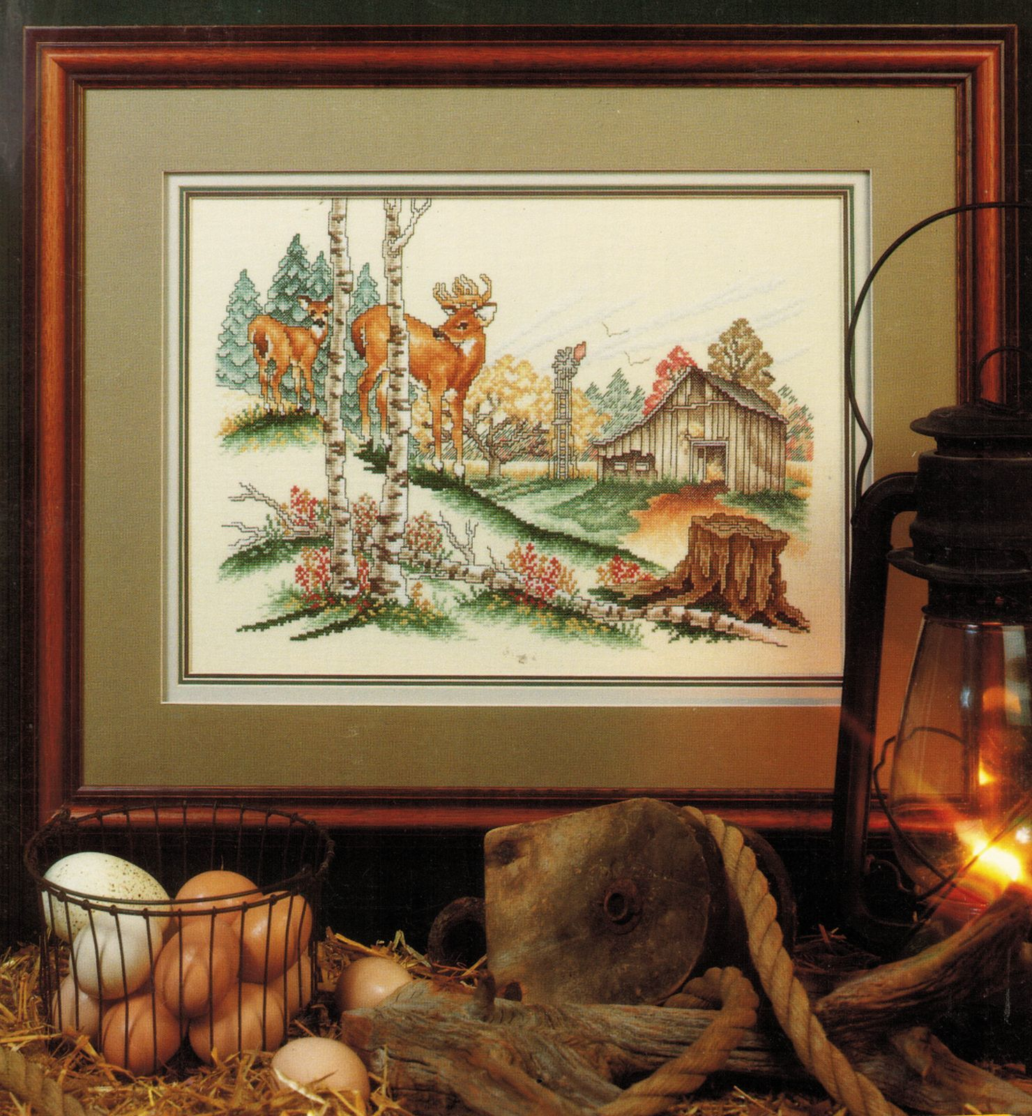 Primary image for Vtg Cross Stitch Wary Approach Buck Doe Deer Barn Woodland Framed Print Pattern