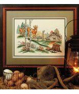 Vtg Cross Stitch Wary Approach Buck Doe Deer Barn Woodland Framed Print ... - $11.99
