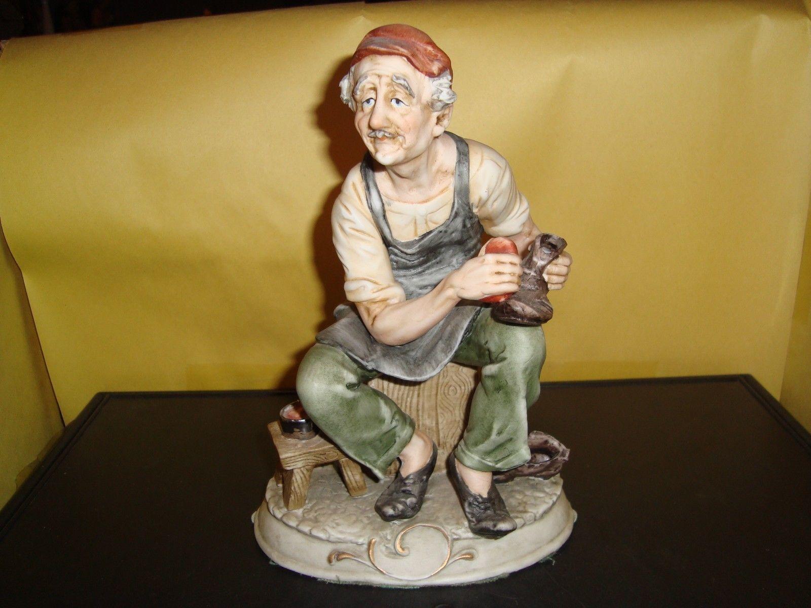 "Arnart Antonio Benni Vintage Porcelain Marked Figure Man Shinning Shoes 8"" Ex"