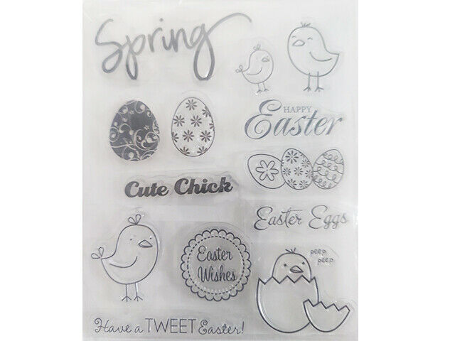 Easter, Spring Clear Stamp Set, Easter Eggs, Chicks, and Sentiments