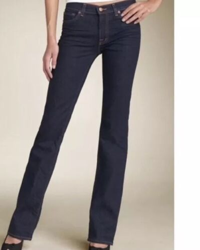 Anthropologie J BRAND Jeans Straight 805 Ink Dark Wash Low Rise Size 24 Women's