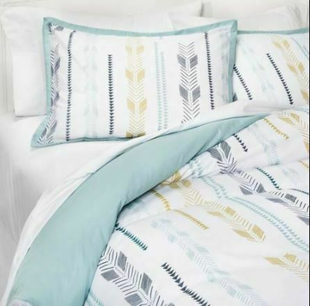 3 Piece Room Essentials Arrow Print KING Duvet Cover Bed Set -2 Shams + 1 Cover