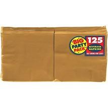 Amscan Big Party Pack 125 Count Beverage Napkins, Gold - £5.44 GBP