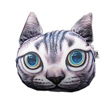 3D Cute Pet Dogs and Cats Face Head Pillow, Haired Cat