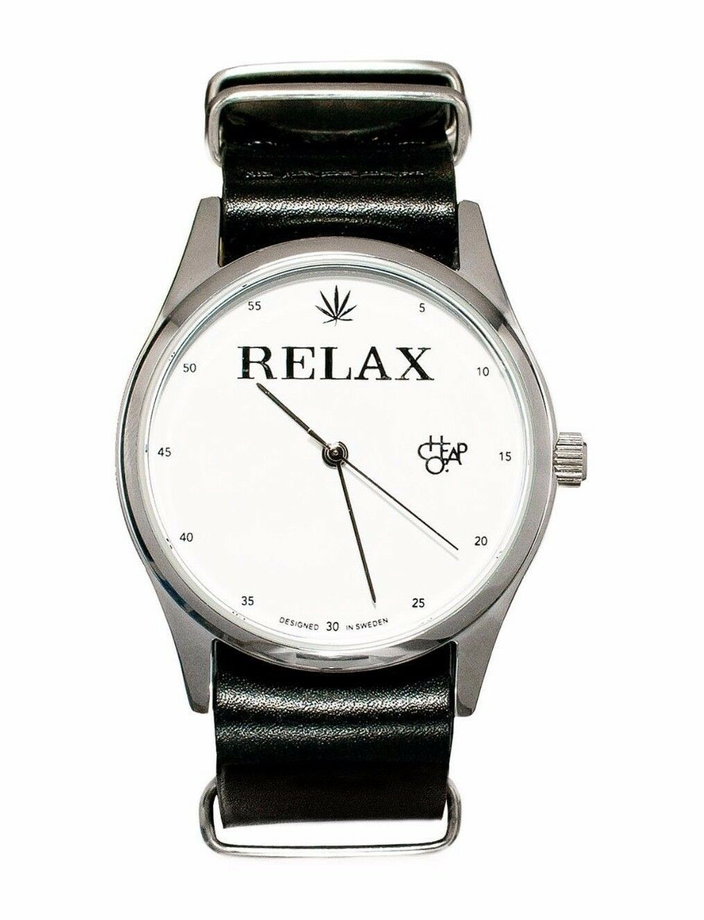 Cheapo CHPO 420 Marijuana Relax Black Leather Strap 14227QQ Analog Wrist Watch
