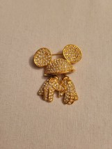 Disney N API Er Gold Tone Pave Crystal Mickey Mouse Hat/Gloves Brooch Pin - $49.99