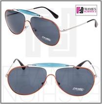 PRADA 56S Linea Rossa Aviator Sunglasses Topaz Orange Silver Special PS56SS - $168.30