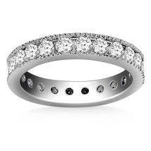 14k White Gold Antique Channel Set Round Diamond Eternity Ring - $3,642.59+