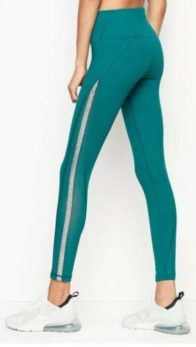 Victoria's Secret Sport Knockout Tight Green Foil Silver mesh Sides Leggings XS