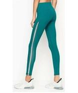 Victoria's Secret Sport Knockout Tight Green Foil Silver mesh Sides Legg... - $29.30