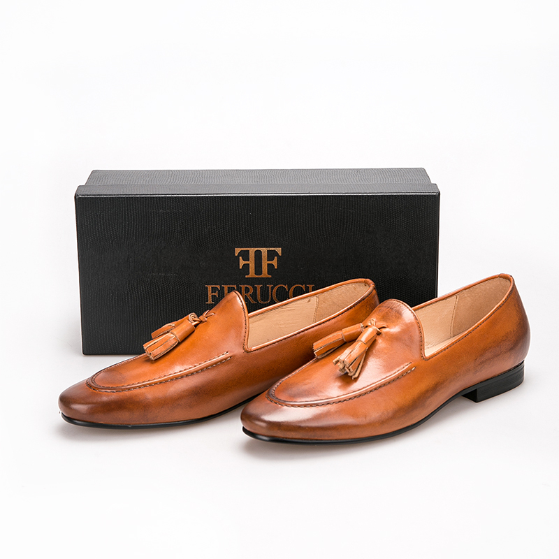 Handmade FERUCCI Men Plain Brown Leather with Brown Tassel Slippers loafer