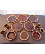 Dinner Plates Saucers Bowls Cups Brown Drip Glaze Hull? Replacement Pieces - $64.45