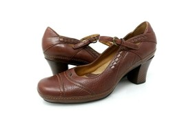 Clarks Artisan Collection Womens 8.5 M Mary Janes Block Heels Shoes Brow... - $24.99