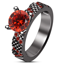 Black Gold Plated Pure 925 Silver Round Cut Red Garnet Engagement Wedding Ring - $78.99