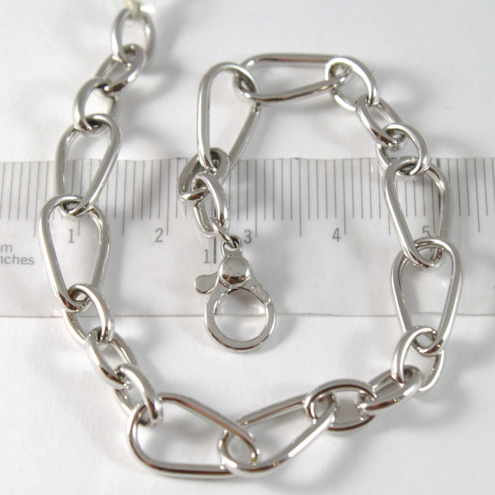 White Gold Bracelet 750 18K with Dew Drops and Ovals, Length 19 cm Adjustable