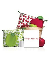 New 2pc Clinique Apple Fruit Cosmetic Bag and Coin Purse choose color - $11.99