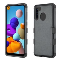 Samsung Galaxy A21 Hybrid Rugged Shockproof Protective Phone Case Cover BLACK - $10.06