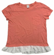 J Crew Crewcuts Ruffle Cotton T Shirt Short Sleeve Size 14 Coral - $13.79