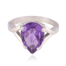 Lucky Gemstone  Pear Faceted Amethyst rings - Solid Silver Purple Amethy... - $12.99
