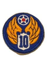 Original Wwii Usaaf U.S. Army 10th Air Force Cut Edge White Back Patch No Glow - $13.99
