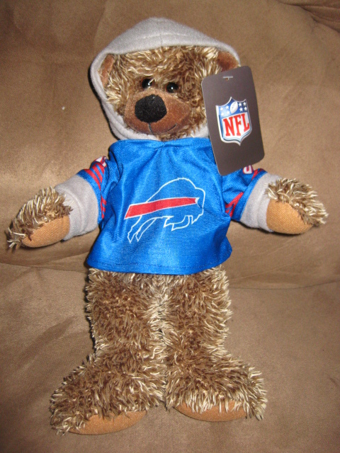 "Primary image for NFL BUFFALO BILLS BEAR Brand New Plush NWT Stuffed Animal w Tags 13"" HOODIE"