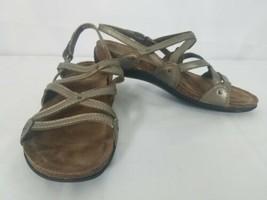 Dansko Jovie Sandals 37 6.5M Pewter Metallic Leather Strappy Wedge Women... - $39.59