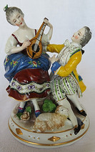 VTG Porcelain Figurine 19th Century Lamb German Man & Woman Playing Lute... - $100.00